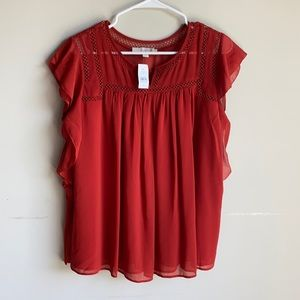 NWT Loft burnt orange Flowy blouse medium